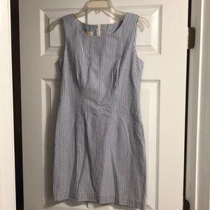 Blue & White Pinstripe Seersucker Shift Dress